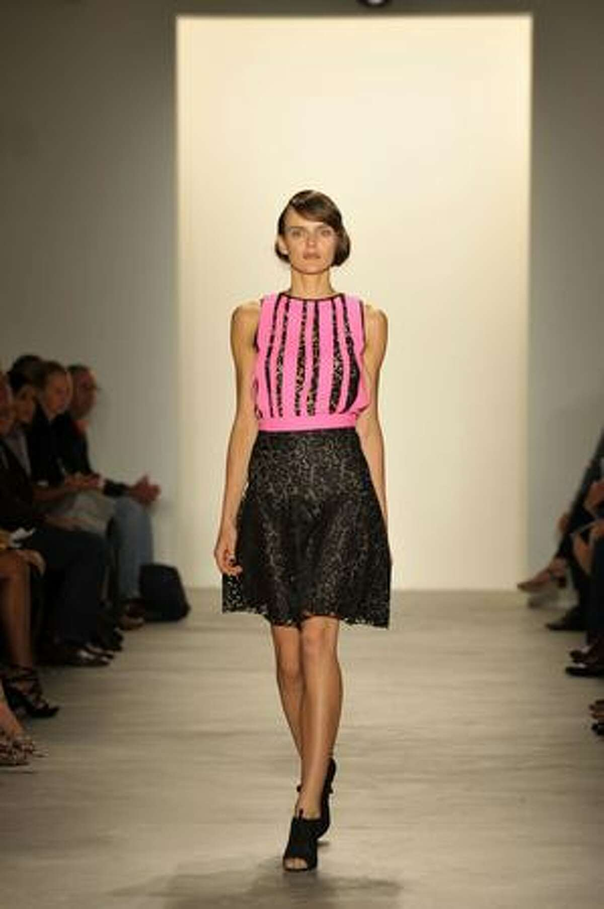 A model walks the runway at the Behnaz Sarafpour Spring 2010 Fashion Show at Milk Studio on Sunday in New York City.