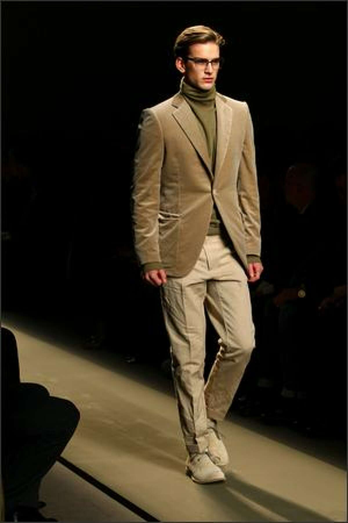 A model walks the runway during the Bottega Veneta show part of Milan Fashion Week Autumn/Winter 2009/10 Menswear on Sunday in Milan, Italy.