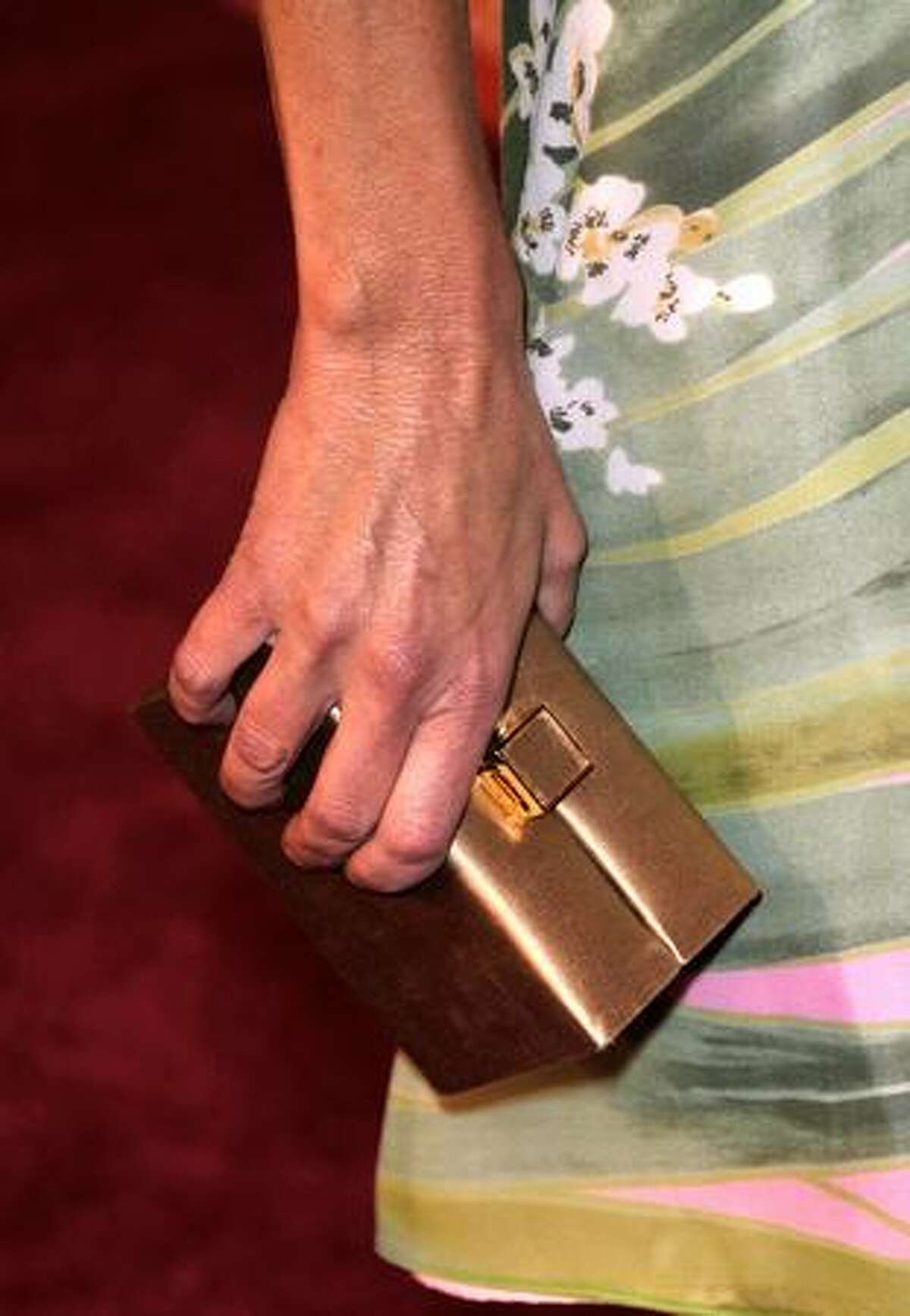 A detail of a handbag carried by actress Heather Locklear as she arrives.
