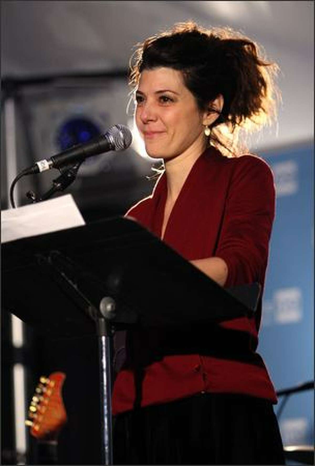 Actress Marisa Tomei speaks on stage at The People Speak ASCAP Music Cafe performance held during the 2009 Sundance Music Festival on Thursday in Park City, Utah.