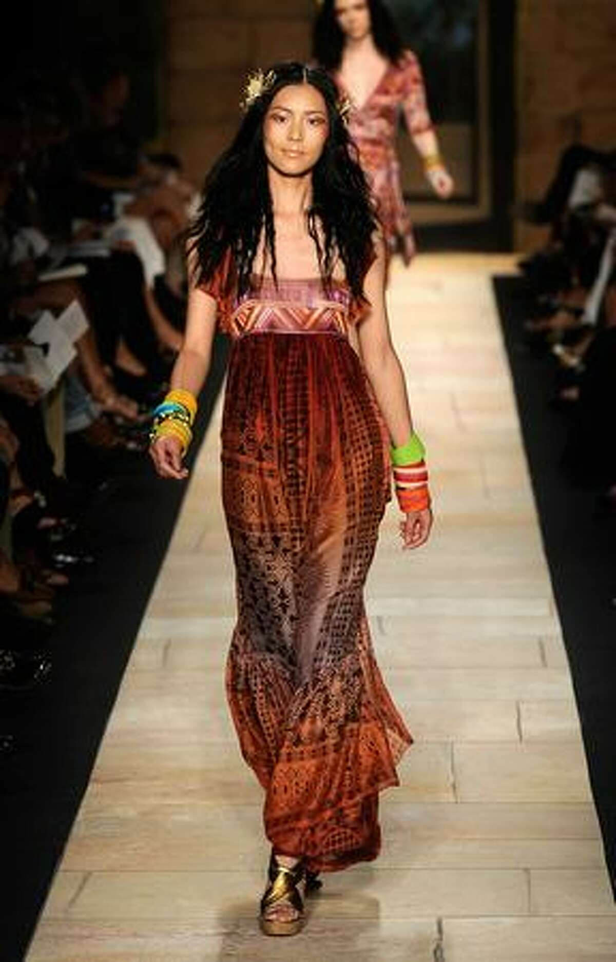 A model walks the runway at Diane Von Furstenberg Spring 2010 Fashion at Bryant Park on Sunday in New York City.