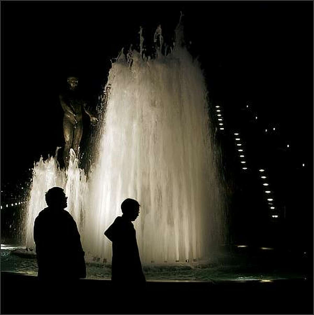 Father and Son fountain, created by artist Louise Bourgeois, at the SAM Olympic Sculpture Park in Seattle. Jan. 13, 2009.