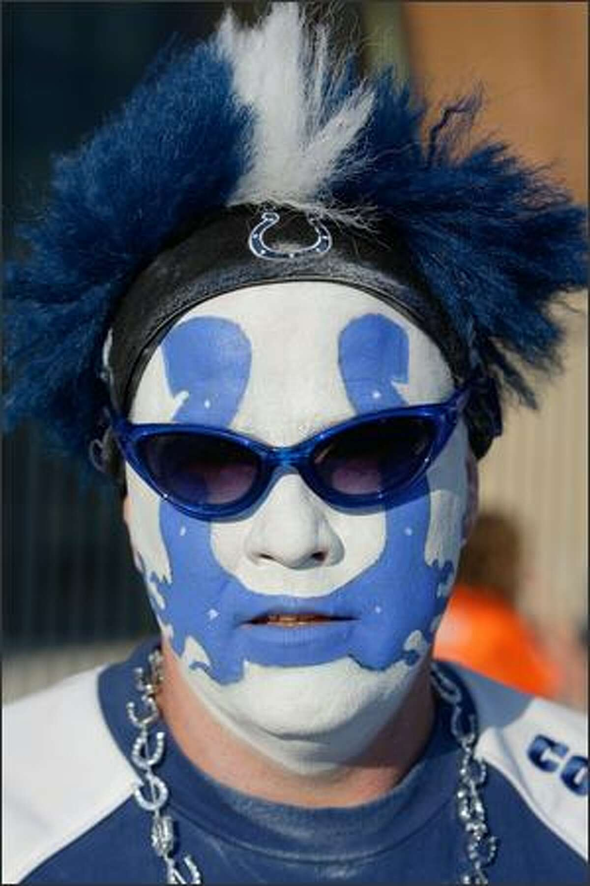 A fan of the Indianapolis Colts shows his support prior to the NFL game between the Chicago Bears and the Indianapolis Colts at Lucas Oil Stadium on Sept. 7.