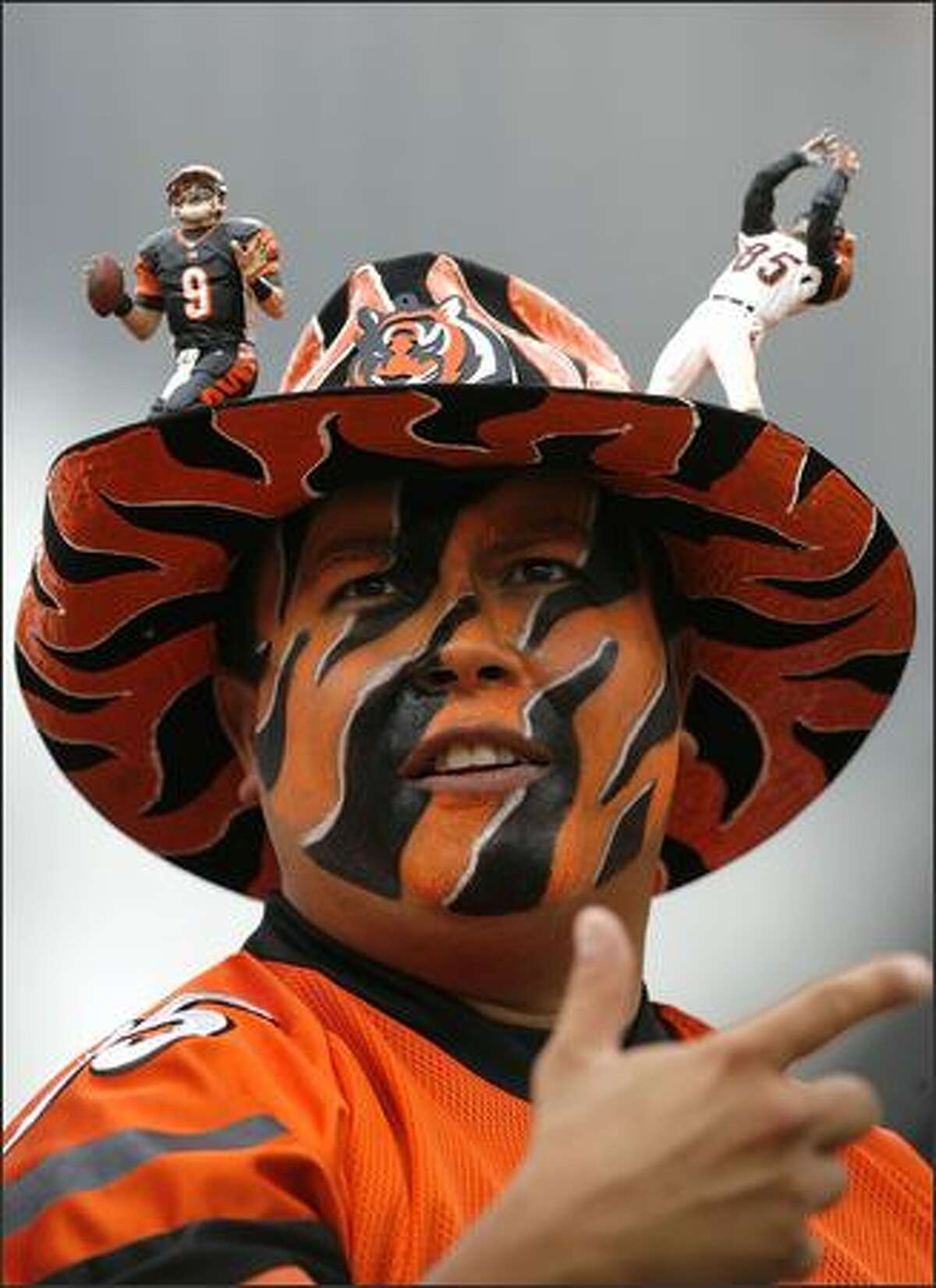 A Cincinnati Bengals fan watches a game against the Tennessee Titans during the second quarter of their NFL game Sept. 14.