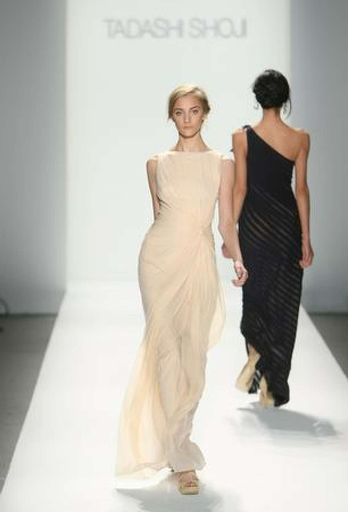 A model walks the runway at Tadashi Shoji Spring 2010 fashion show at the Salon at Bryant Park in New York City.