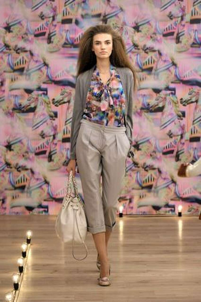 A model walks at the Mulberry presentation at Soho House Library in New York on Tuesday, Sept. 15, 2009.