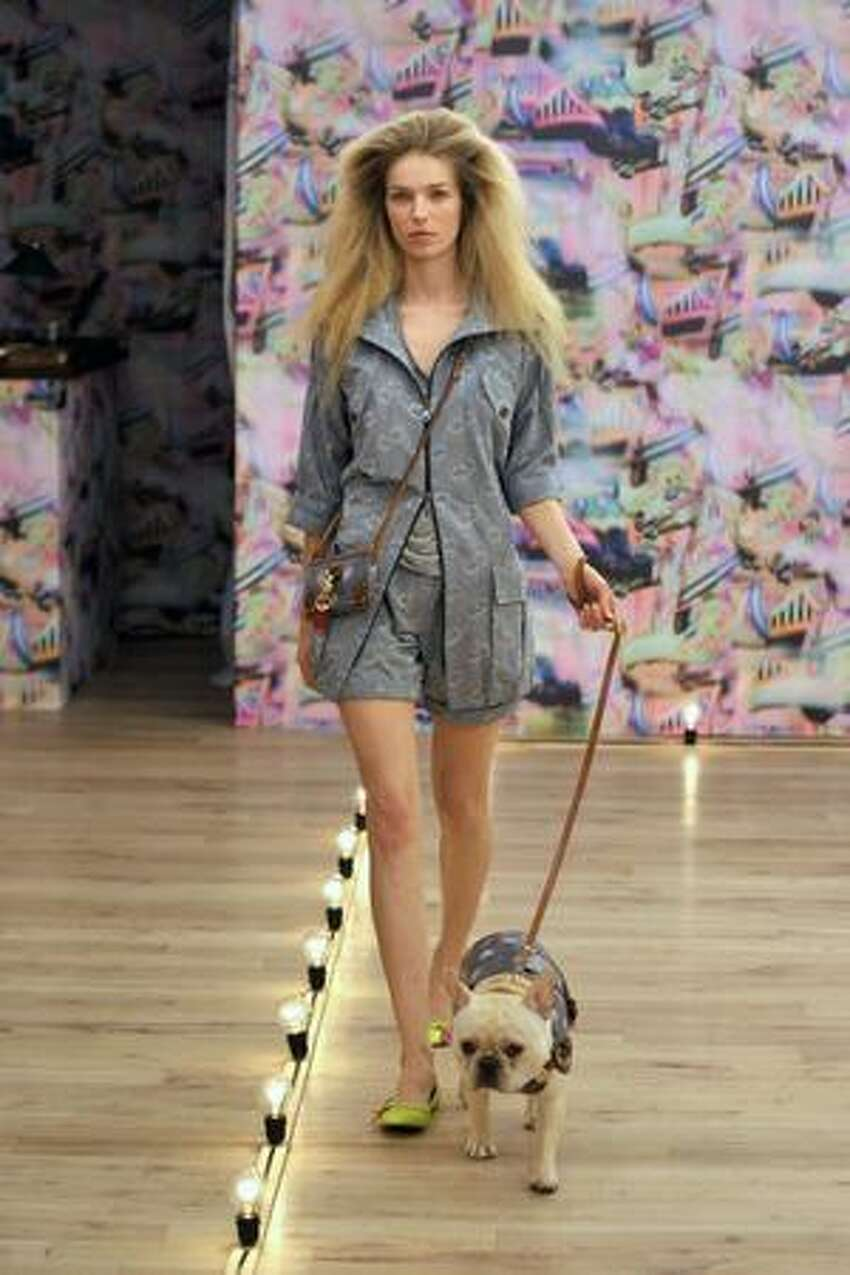 A model presents a creation by Mulberry.