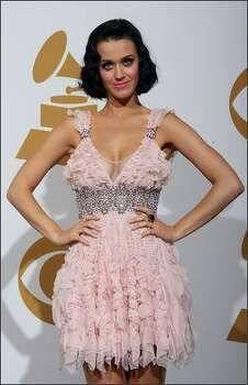 Singer Katy Perry poses in the photo room. Photo: Getty Images