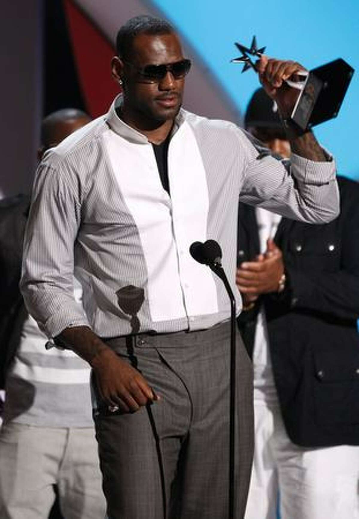 NBA player LeBron James of the Cleveland Cavaliers accepts the BET Award for Best Male Athlete on stage during the 2009 BET Awards held at the Shrine Auditorium on Sunday in Los Angeles, California.