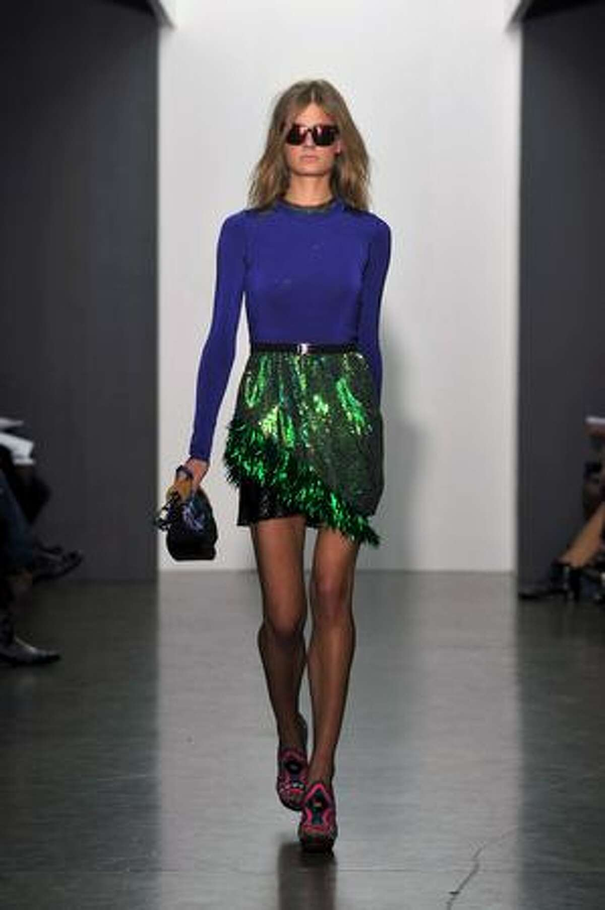 A model walks the runway at the Proenza Schouler spring 2010 fashion show at Milk Studios in New York on Wednesday, Sept. 16, 2009.