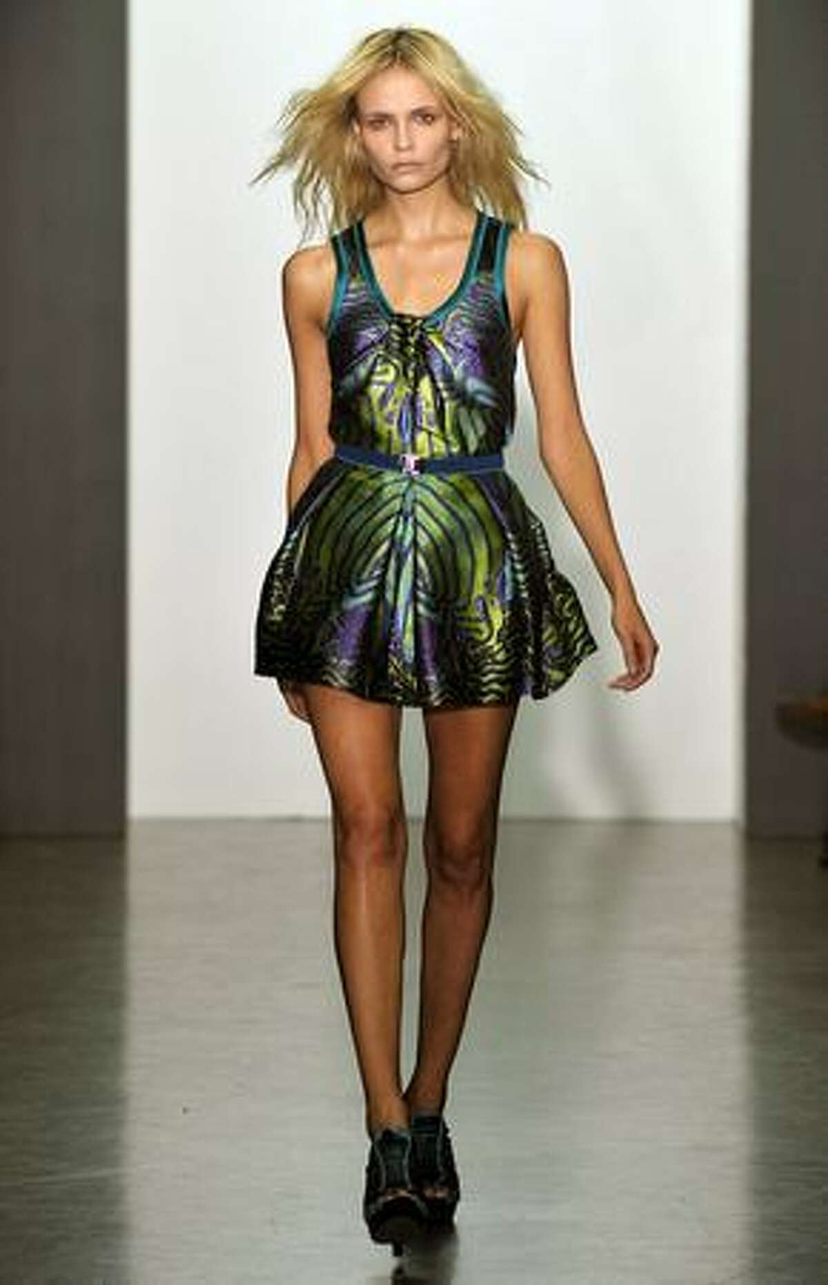A model displays a creation by Proenza Schouler.