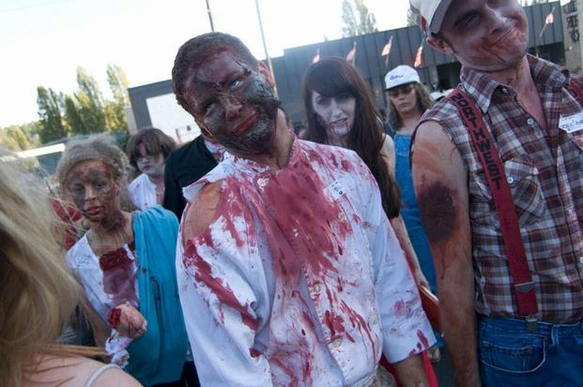 Zombies begin their walk around Fremont. Photo by Daniel Berman/SeattlePI.com