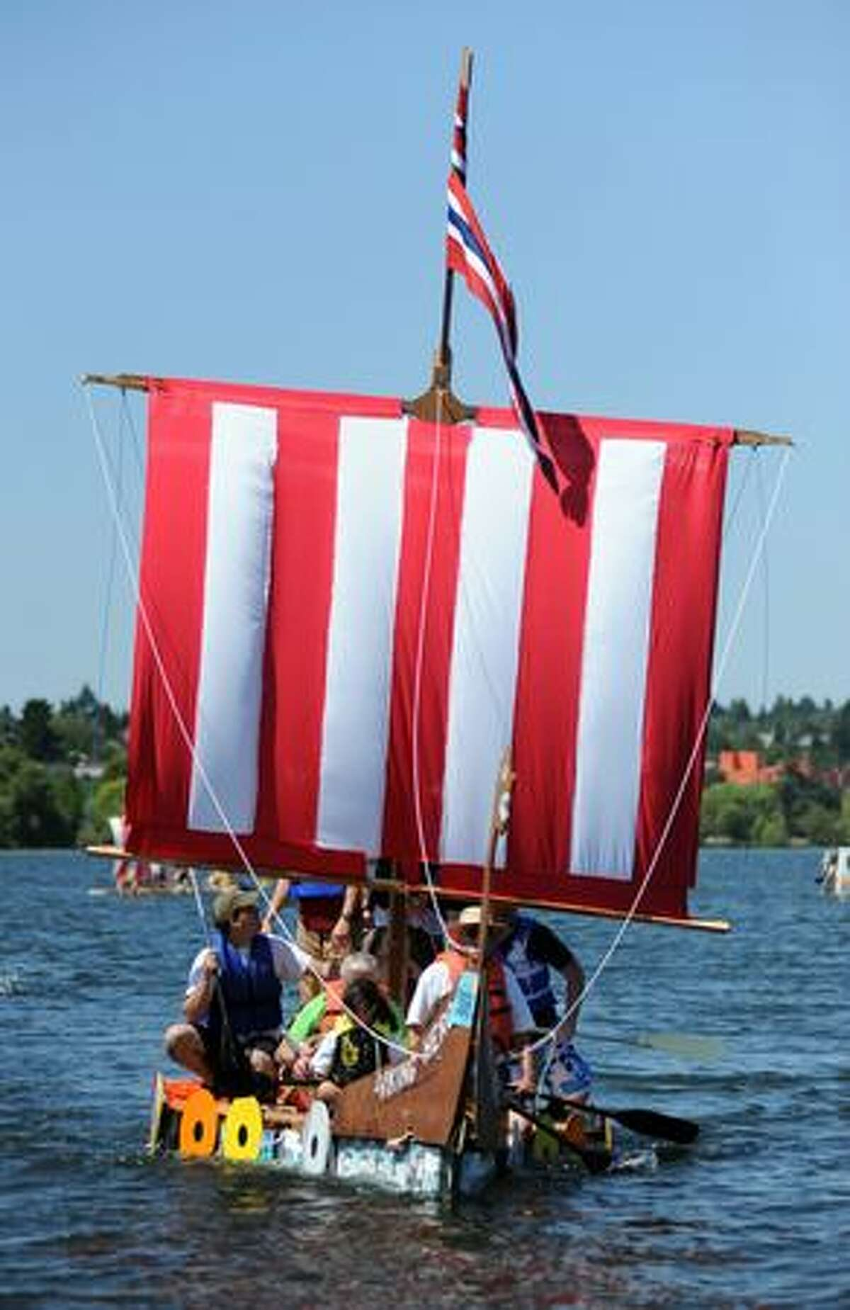 The Viking Hero competes in Seattle's Seafair Milk Carton Derby on Green Lake Saturday.
