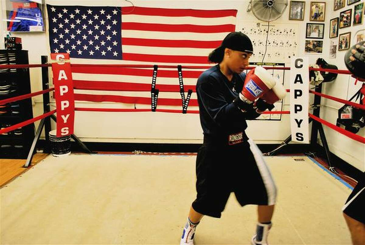 Queen Underwood, three-time USA Boxing champion in the welterweight class, boxes at Cappy's Boxing Gym in Seattle's Central District.