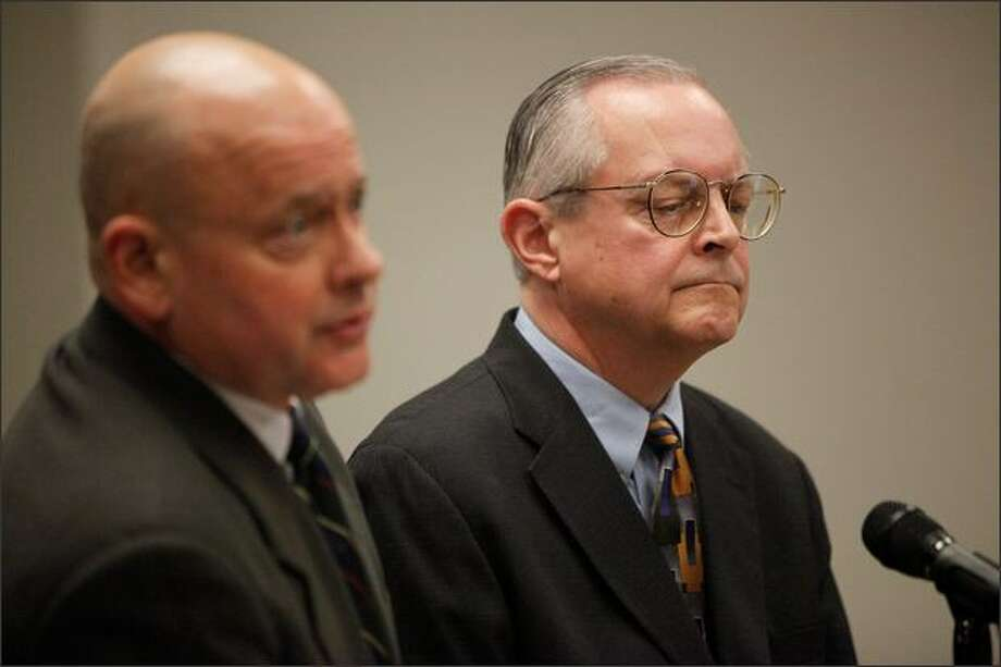 Scott Noble, right, pleaded guilty to one count of vehicular assault in the first degree at the King County Courthouse Wednesday. His attorney, John Wolfe, stands at left. Photo: Clifford DesPeaux/seattlepi.com