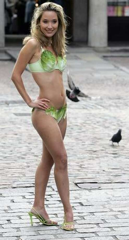 But why stop there when you can also make a social or political statement? Miss United Kingdom Brooke Johnston poses in a bikini made of lettuce leaves during a photocall in London organized by People for the Ethical Treatment of Animals (PETA) to promote vegetarianism. Photo: Getty Images
