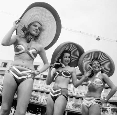 Five years after Reard's bikini was introduced, these women wore the latest designs at the same place where it all started, Paris' Molitor open-air swimming pool. Photo: Getty Images