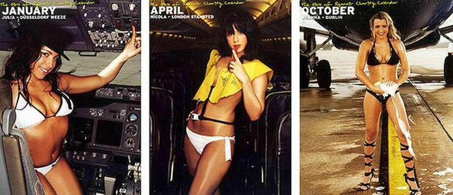 "Even the Irish get into the act. This combo photo shows flight attendants in bikinis on a 2008 calender for Irish low-cost airline Ryanair. A Spanish consumer association denounced Ryanair for using its air hostesses as ""publicity tools."" Photo: Getty Images"