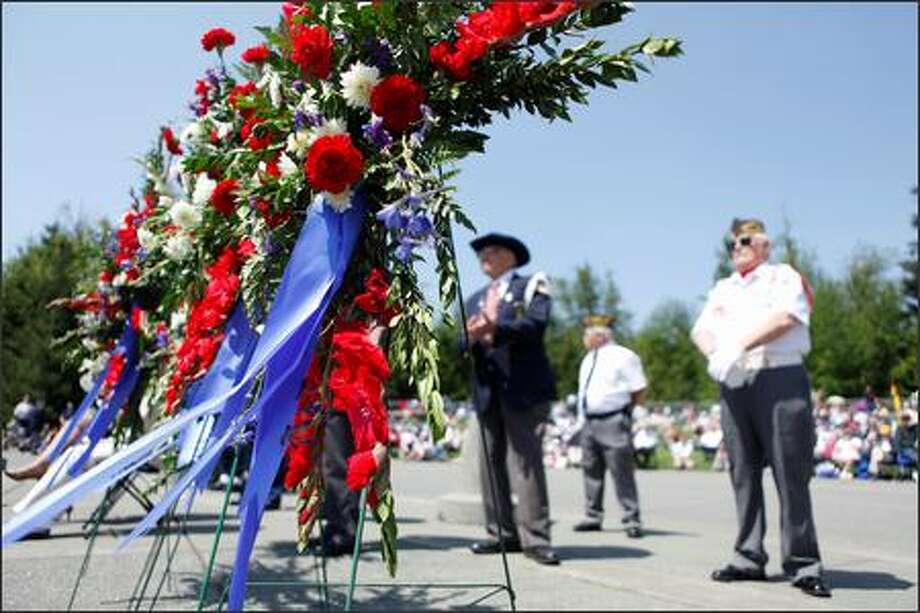 Wreaths were on display during the Memorial Day celebration Monday at Tahoma National Cemetery in Kent. | Photo gallery Photo: Clifford DesPeaux/seattlepi.com