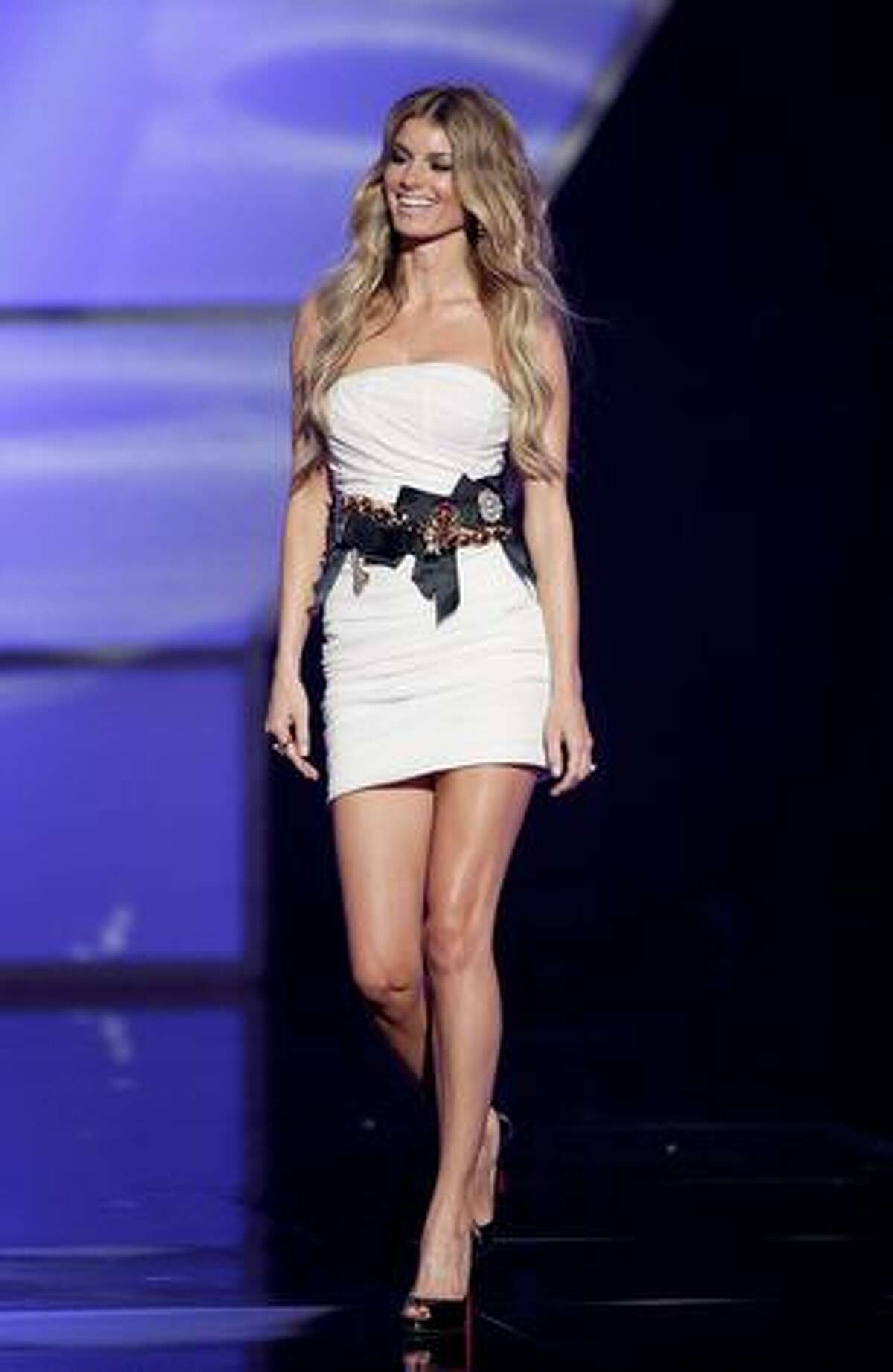 Model Marisa Miller walks onstage.