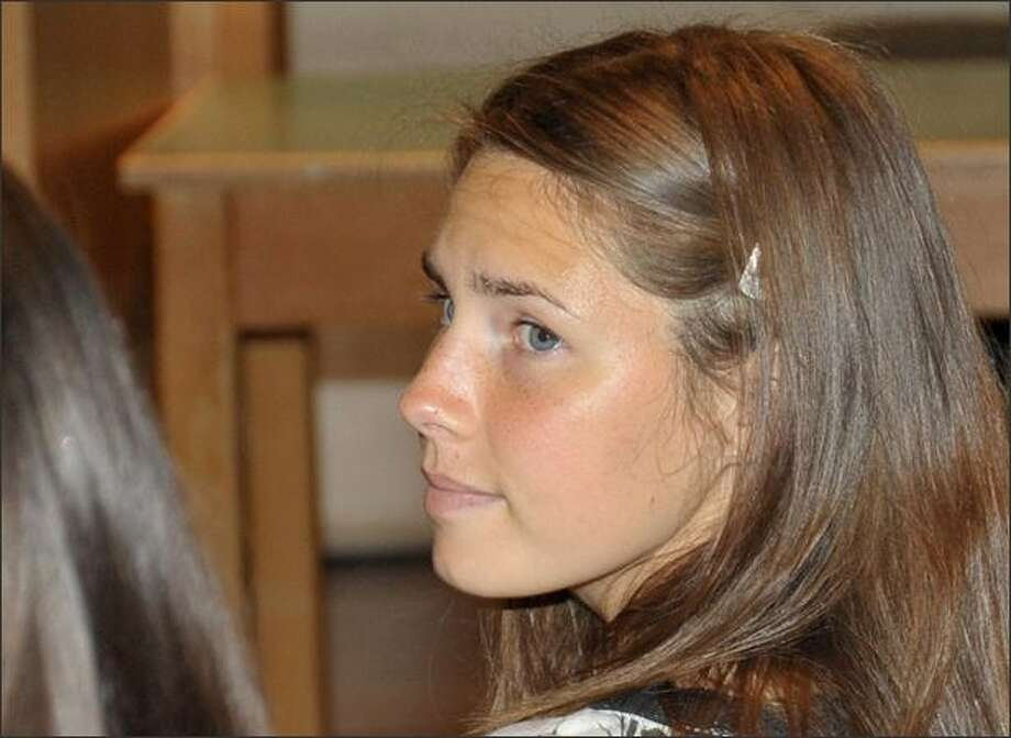 Murder suspect Amanda Knox looks on during a hearing in the Meredith Kercher murder trial, in Perugia, Italy, last Saturday, May 23, 2009. Photo: / Associated Press