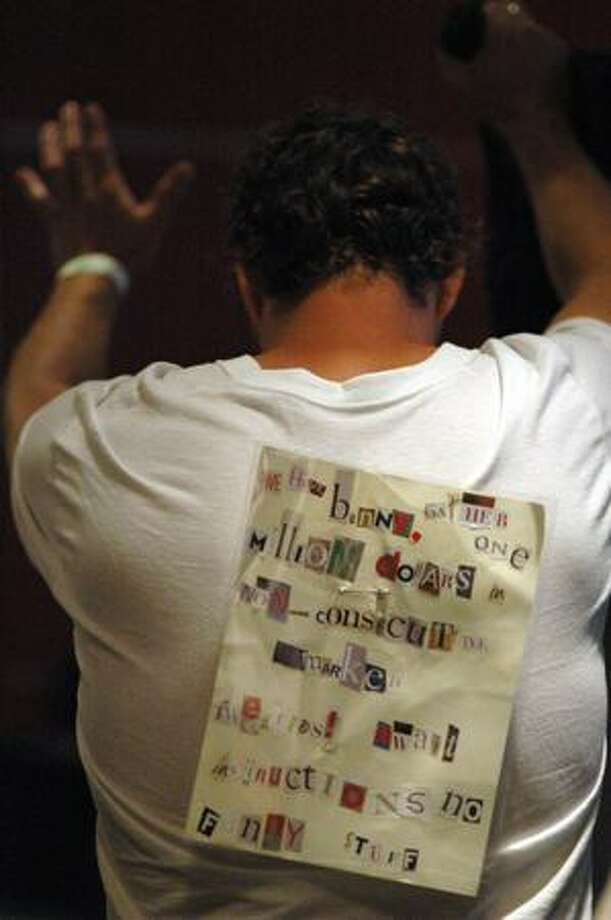 One Lebowski Fest attendee sported this T-shirt decorated with the ransom note from the movie. Photo: Daniel Berman, Seattlepi.com