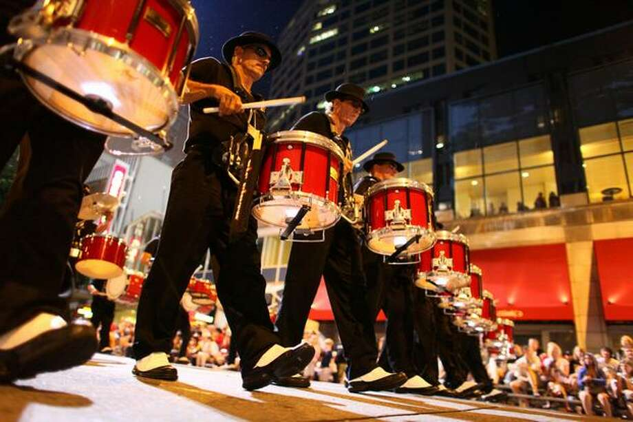 The Pacific Alliance Drum Corp performs during the Seafair Torchlight parade on Saturday July 25, 2009 along 4th Avenue in Seattle. Photo: Joshua Trujillo, Seattlepi.com