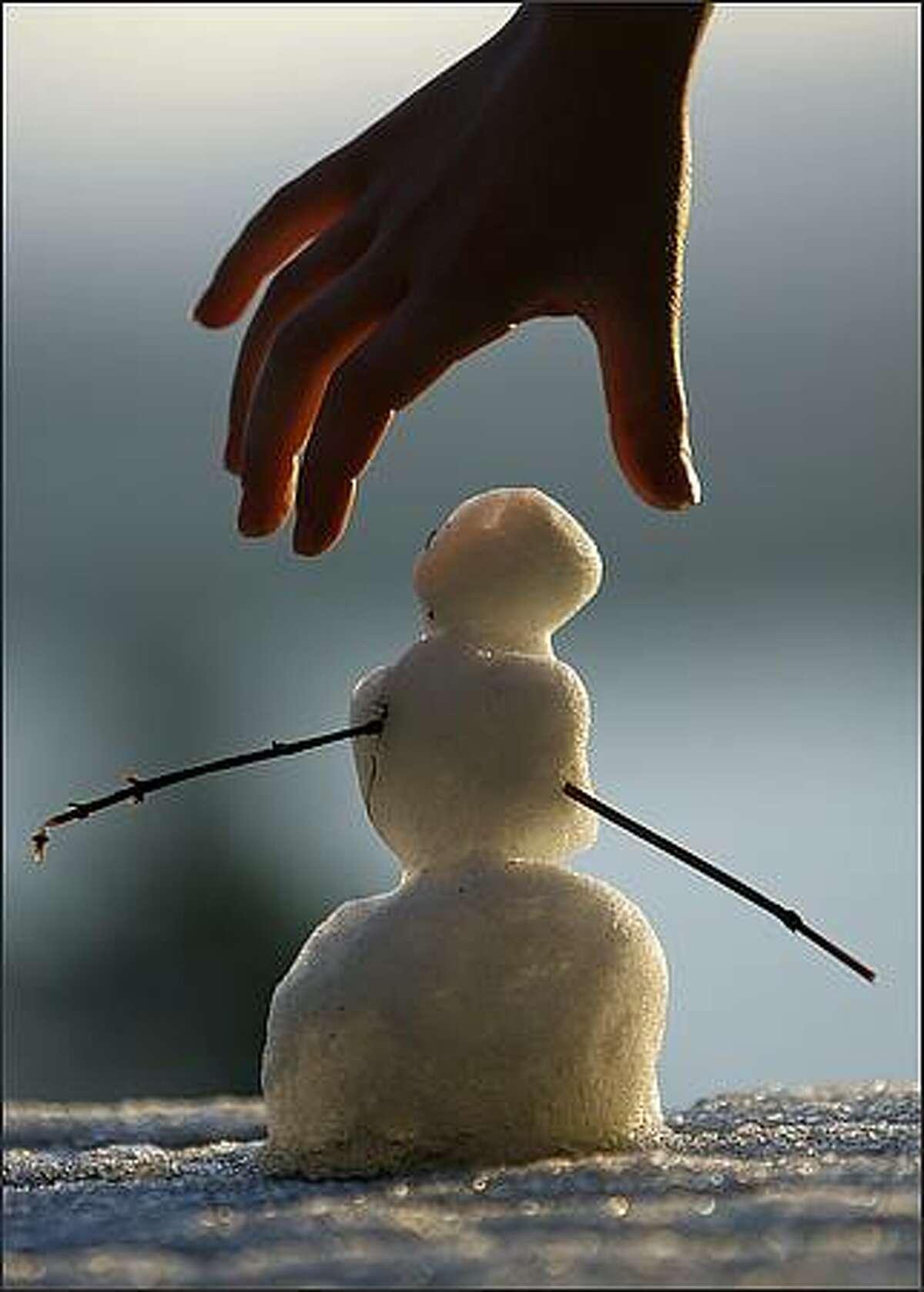 Big snowman, little hand. Photographed on Vashon Island.