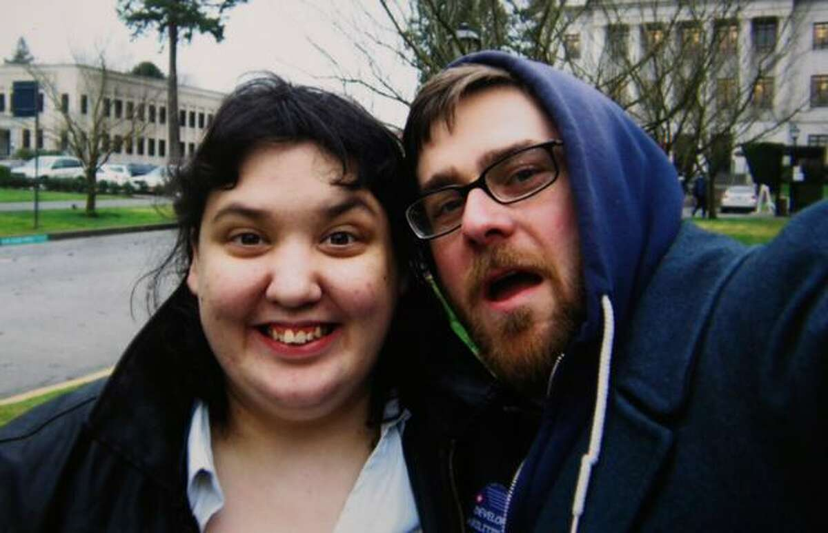 Corey Nelson and John Leoni, right, in Olypmia during one of their trips to the State Capitol to argue for rights for developmentally disabled people. Courtesy photo