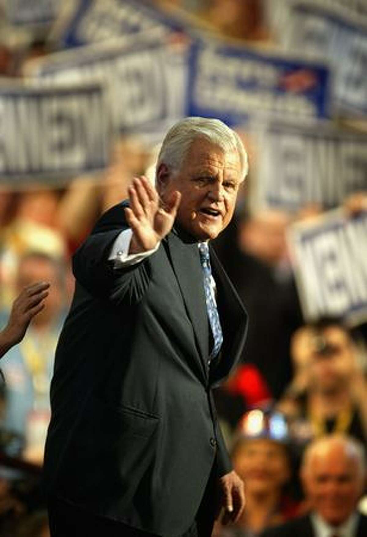 BOSTON - JULY 27: U.S. Senator Ted Kennedy responds to the crowd after speaking to delegates at the Democratic National Convention July 27, 2004 at FleetCenter in Boston, Massachusetts.