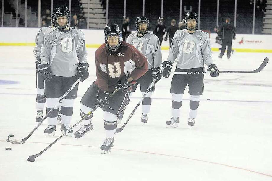 The Union College men's hockey team practices at the Webster Bank Arena in Bridgeport, Conn. Thursday, March 24th, 2011. Union will play the University of Minnesota Duluth Friday in the NCAA East Regional Semifinal. (Ned Gerard/Connecticut Post) Photo: Ned Gerard / Connecticut Post