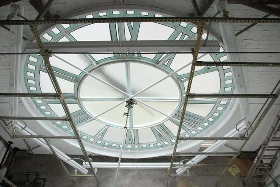 The restored King Street Station clock, Sept. 1, 2009. (Seattle Department of Transportation photo)