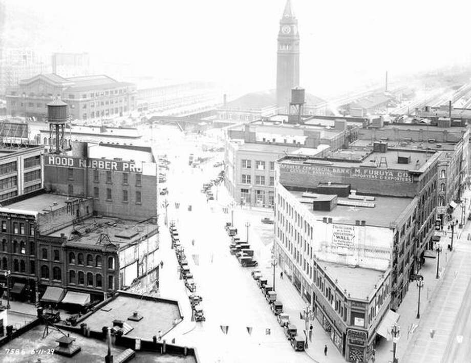 King Street Station is seen on the right of this photograph from June 11, 1929. (City of Seattle photo)