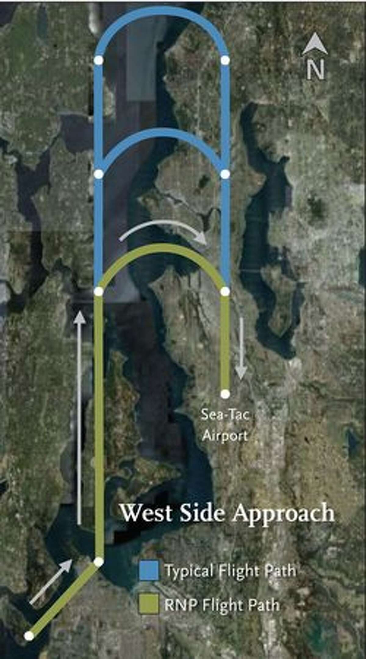 West side approach flight paths to Seattle-Tacoma International Airport with and without RNP (Alaska Airlines image)