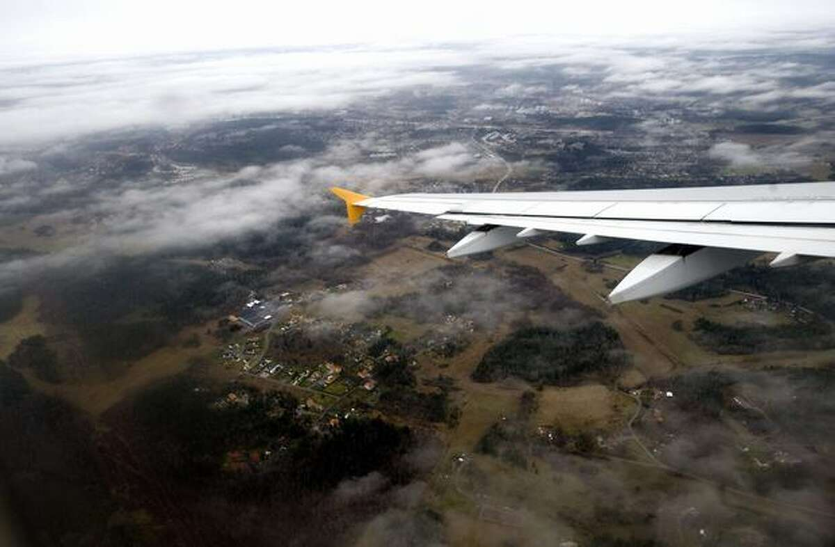 A view from a Novair Airbus A321 test flight taken during a demonstration of the new approach technique Required Navigation Performance, on its way to Arlanda airport in Stockholm, Sweden, on Nov. 25, 2009. (PONTUS LUNDAHL/AFP/Getty Images)