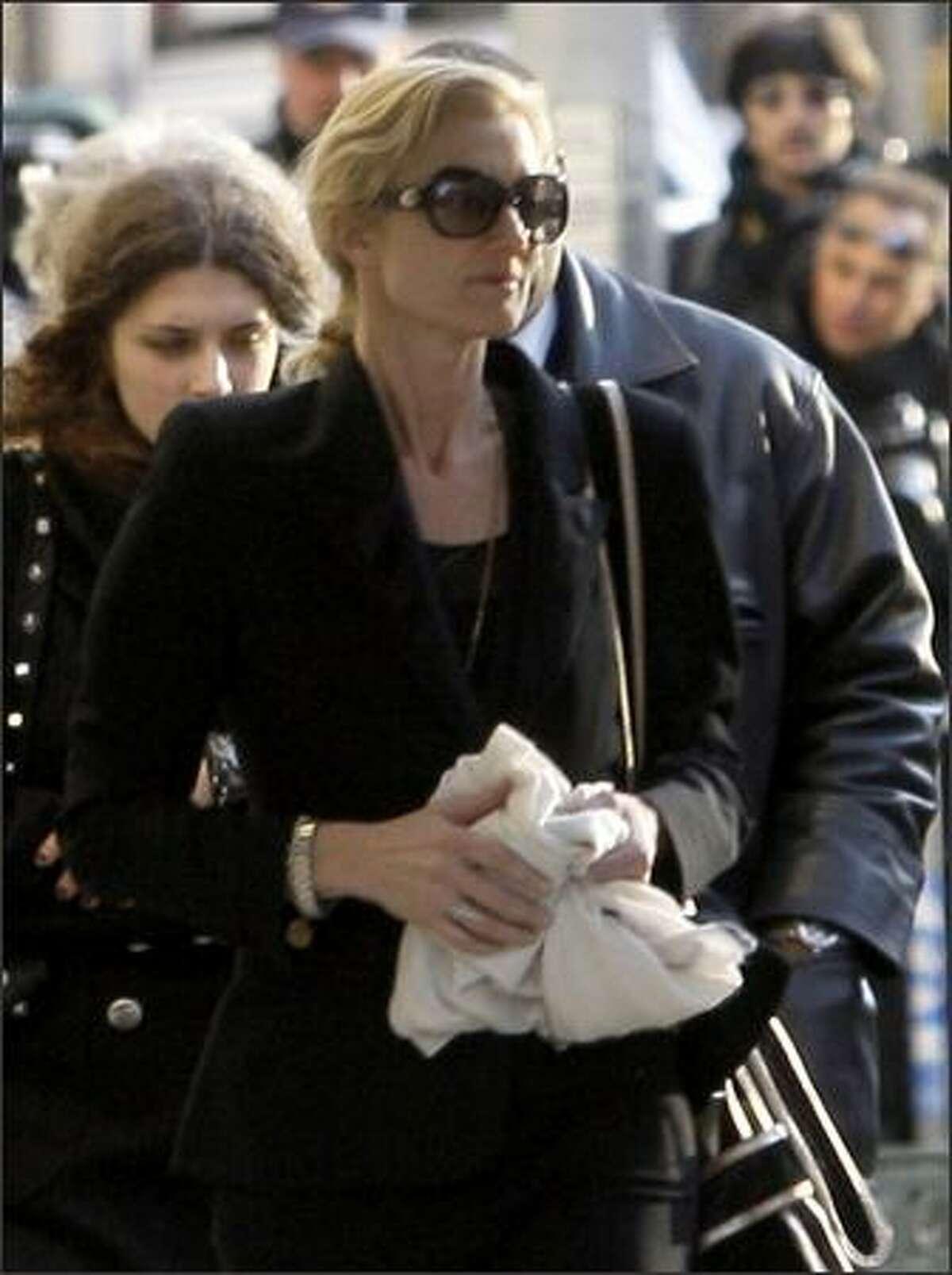 Joely Richardson, sister of Natasha Richardson, leaves a private wake for Natasha Richardson at New York's American Irish Historical Society. (AP Photo/Frank Franklin II)