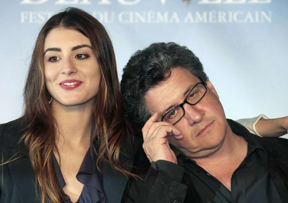 Actress Dominik Garcia-Lorido poses with director Raymond De Felitta during a photocall for hid film