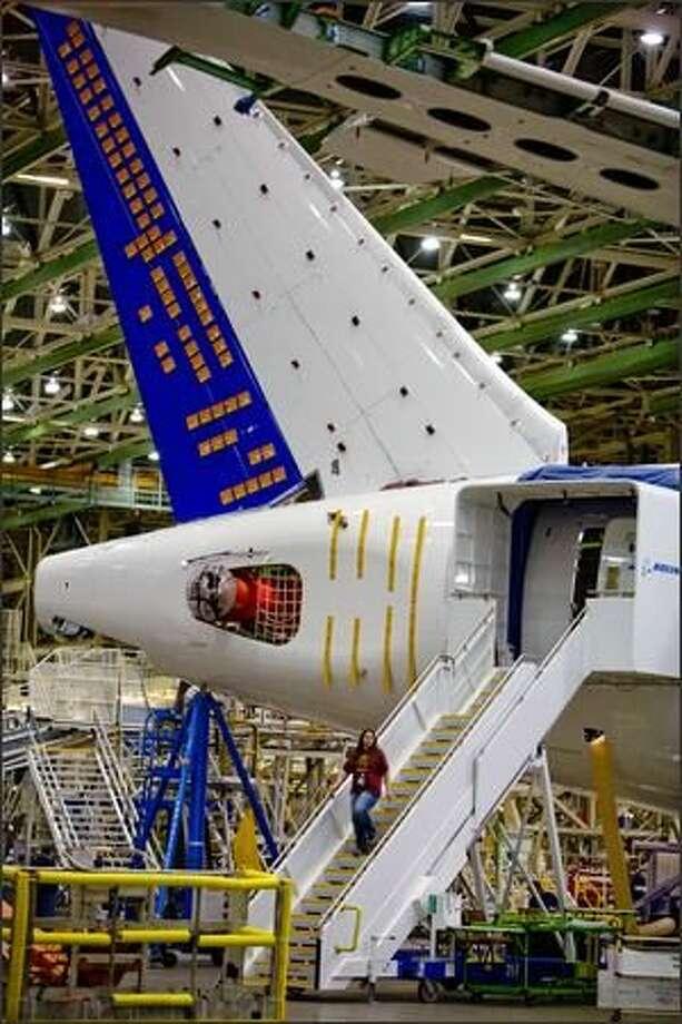 The 787 fatigue test airplane on April 30, 2009 (Joshua Trujillo/seattlepi.com file)