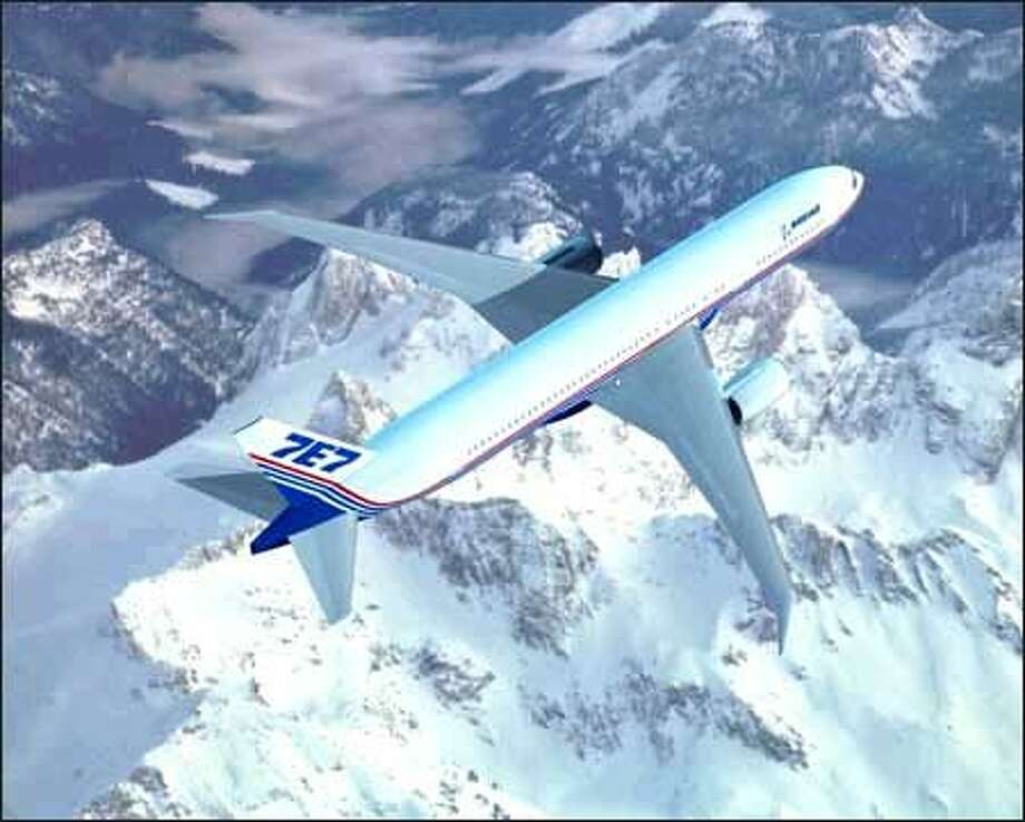 Boeing released the first artist's image of what it then called the 7E7 on Jan. 29, 2003. (Boeing image)
