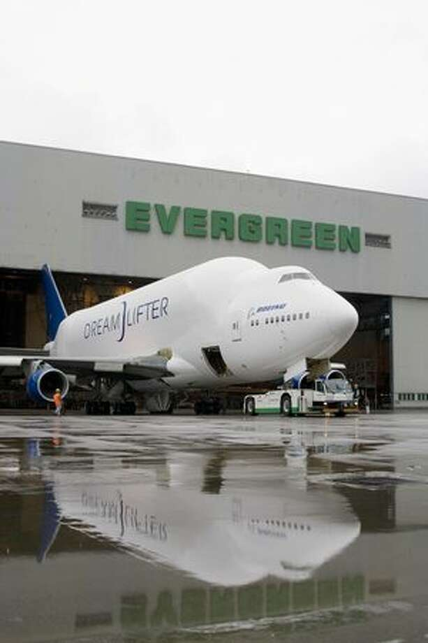 Rollout of the second Dreamlifter in 2007. (Boeing photo)