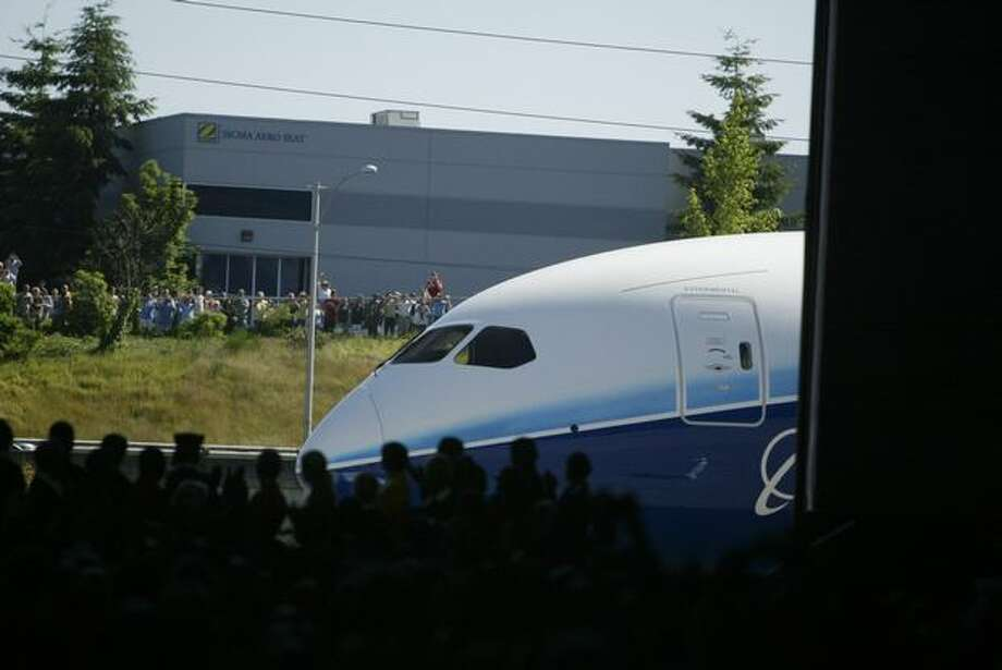 Rollout of the first Boeing 787 Dreamliner on July 8, 2007 (Grant M. Haller/seattlepi.com file)