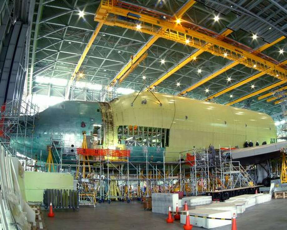 Boeing modifying a 747-400 to become the first Dreamlifter in 2006. (Boeing photo)