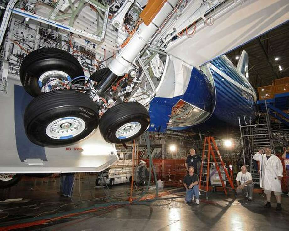 Initial gear swing testing for the first 787 Dreamliner in 2008 (Boeing photo)