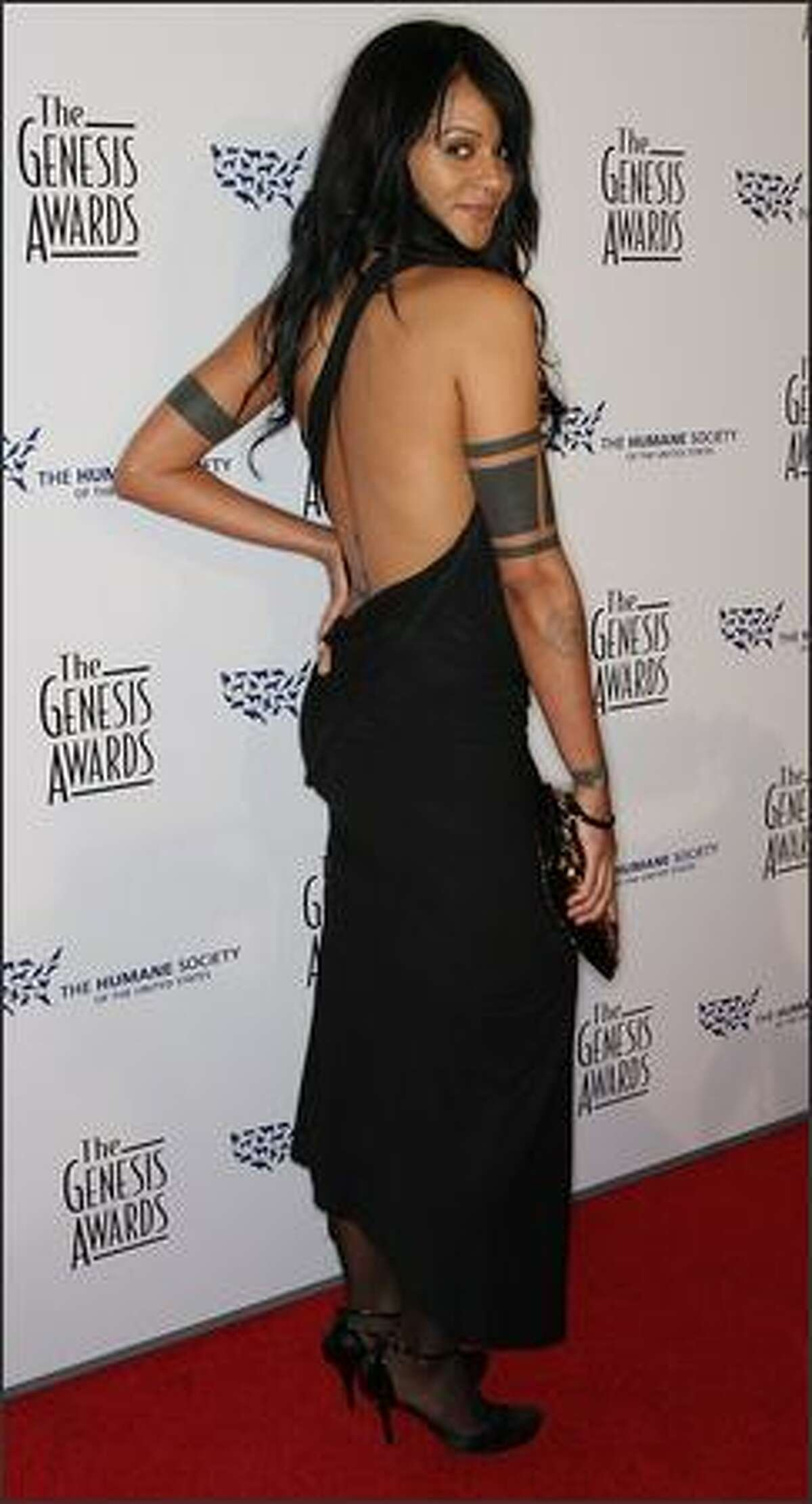 Actress Persia White attends the 23rd annual Genesis Awards at the Beverly Hilton Hotel in Beverly Hills, Calif.