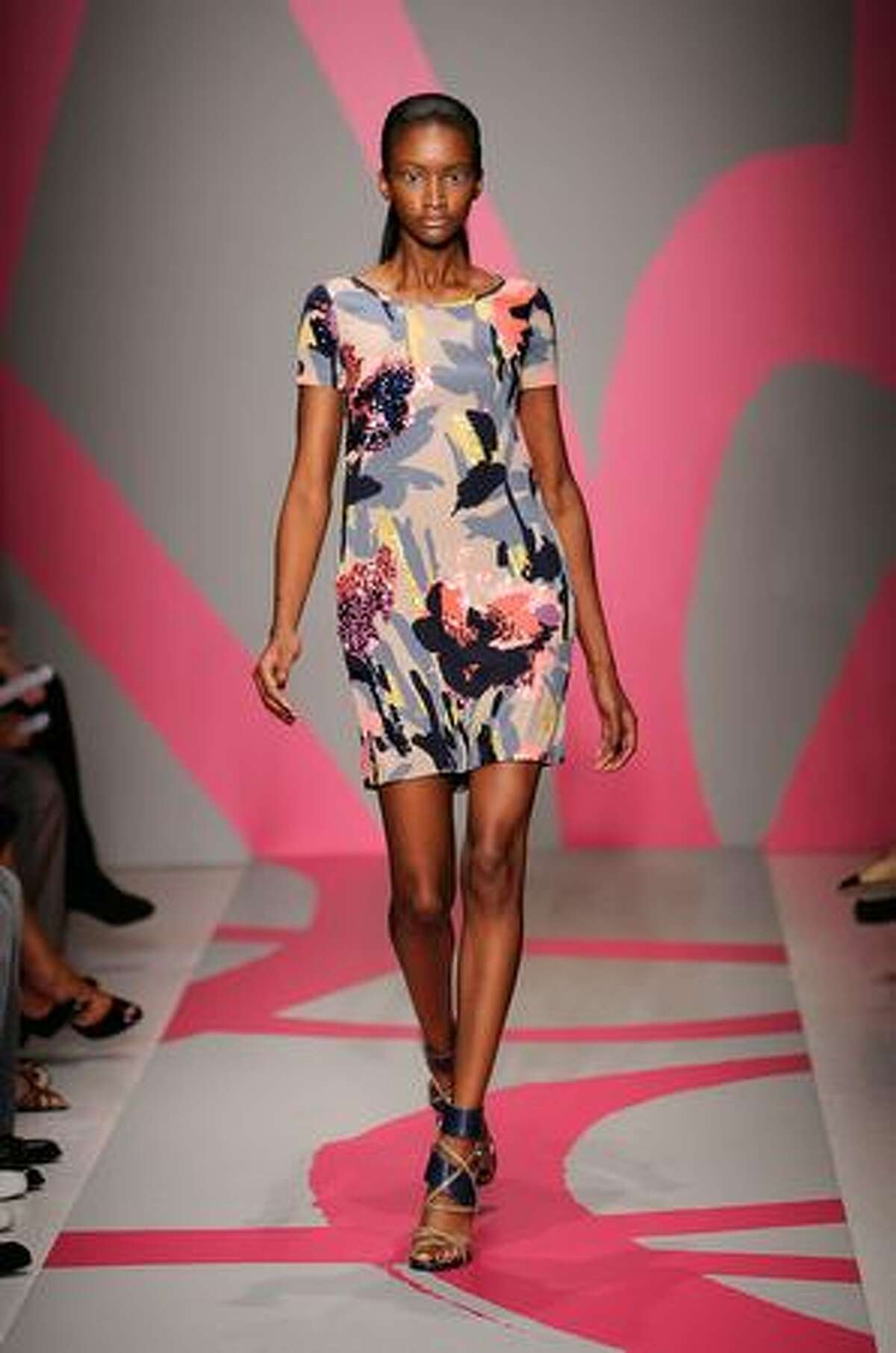 A model walks the runway at the DKNY Spring 2010 Fashion Show on Sunday in New York City.