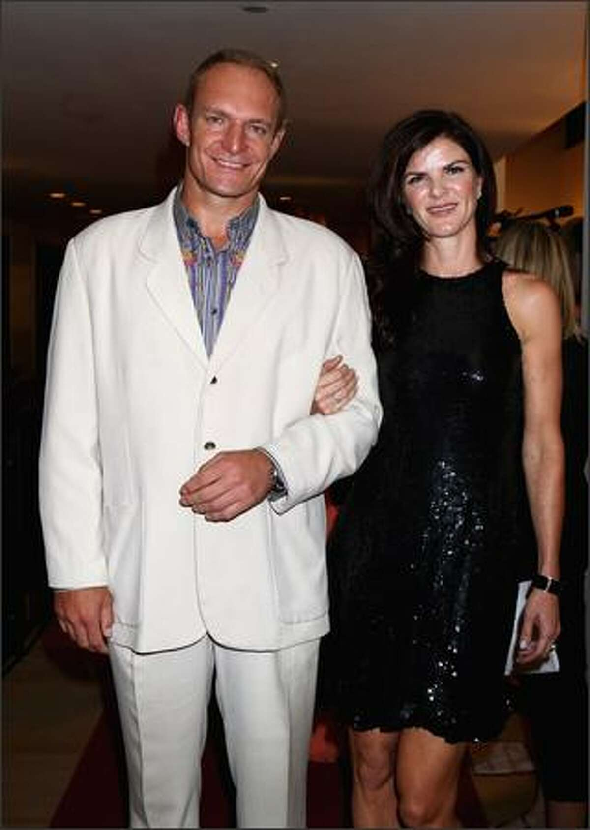 Francois Pienaar and his wife arrive at the Grand Opening of the new One&Only Cape Town resort in Cape Town, South Africa.