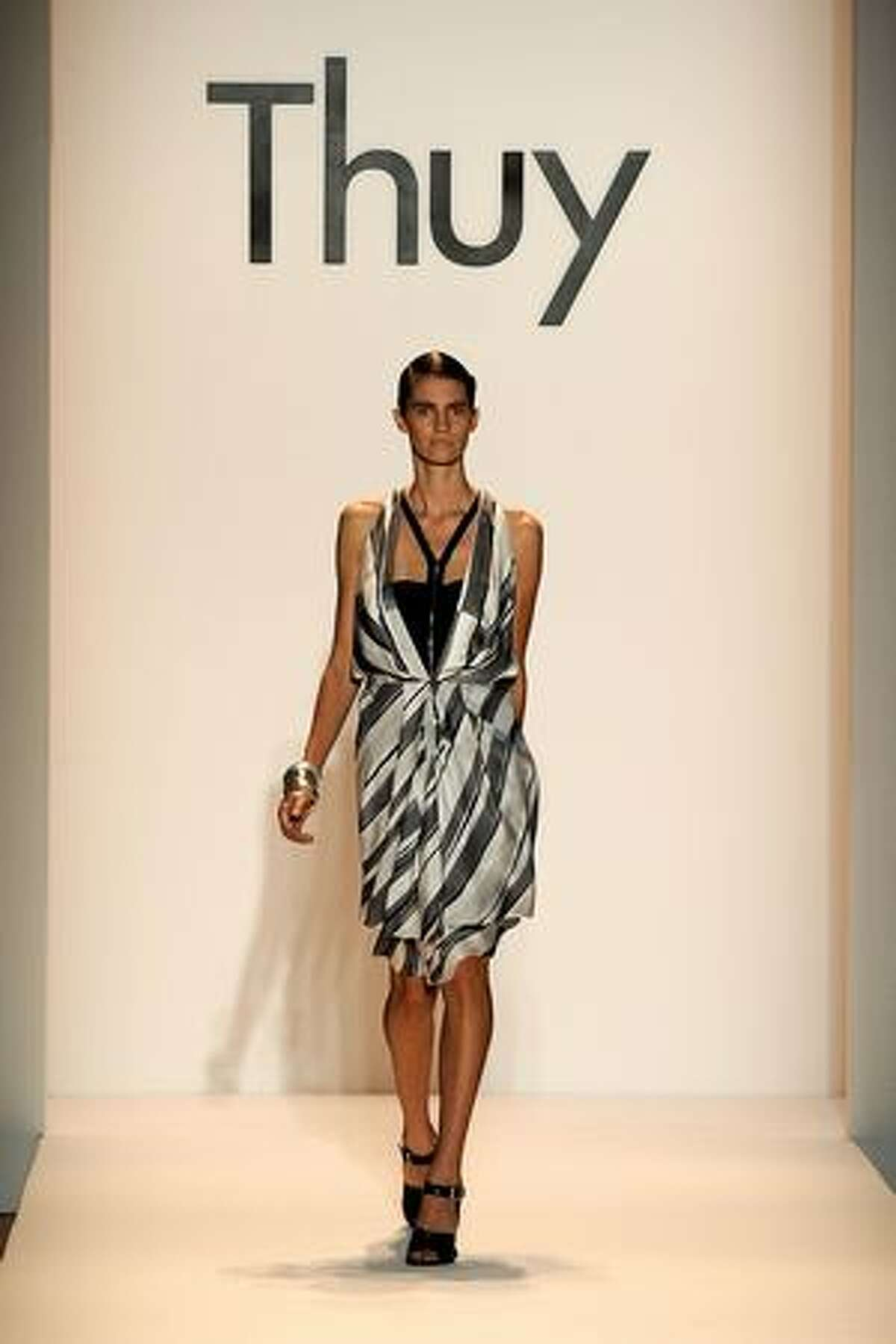 A model walks the runway at the Thuy Spring 2010 Fashion Show at the Salon at Bryant Park on Sunday in New York City.