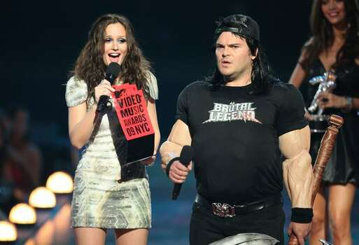 Actors Leighton Meester and Jack Black onstage. Photo: Getty Images