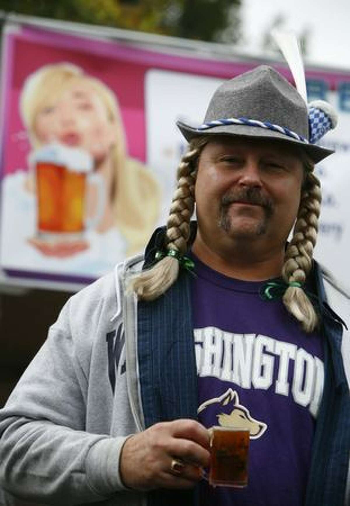 A participant shows off his hat during Fremont's Oktoberfest celebration on September 19, 2009 in Fremont.