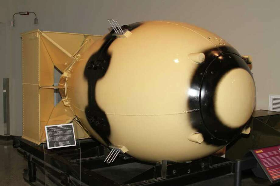 "The photo is attached for ""Country Scientist"" on page 2 of the Style  Section for Monday, March 28, 2011.       Photo Processing: Cropped to a square and slightly brightened.  Photo Caption: Photo Caption: This bomb casing at the National Museum of  Nuclear Science & History is identical to Fat Man, the atom bomb  that devastated Nagasaki, Japan, in 1945. / San Antonio Express-News"
